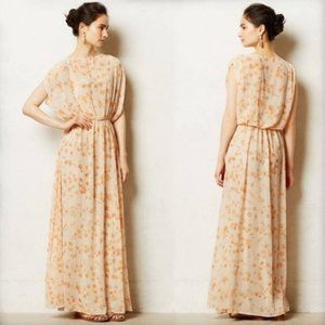 Anthro Paper Crown Peach Blossom Maxi Dress. Large